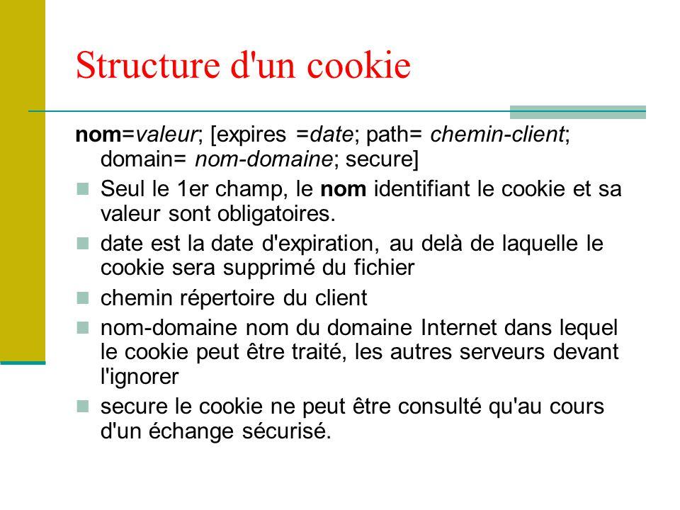 Structure d un cookie nom=valeur; [expires =date; path= chemin-client; domain= nom-domaine; secure]